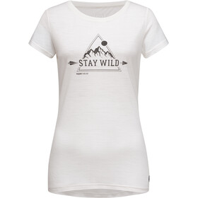 super.natural Print Tee Stay Wild Dam fresh white/jet black